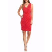 Calvin Klein - Vestido Importado Con Tachas Doradas - Rojo
