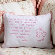 Almofada Travesseiro Oração Anjinho Da Guarda Rosa 34x27cm