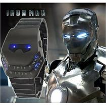 Reloj Digital Led Azul Iron Man Tipo Binario Estilo Japones