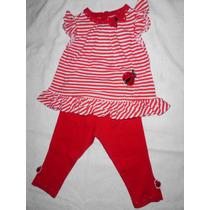 Conjunto Blusa Y Leggins Mono O Pantalon Rojo Bebe Niña 2pza