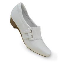 Sapato Branco Salto Baixo Para Enfermagem Fechado