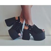 Sandalias Con Flecos Y Tachas Altas Plataforma Mujer