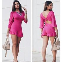 Macaquinho Curto Verão Sexy Moda Blogueira