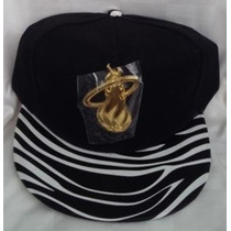 Gorra Miami Heat Negra Animal Print Plana Ajustable Broche.