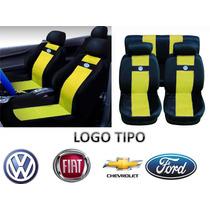 Jogo Capas De Banco Em Nylon Amarelo Logo Vw Gol Fox Polo