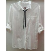 Camisa Blanca Con Moño Lazo Calada Transparencias