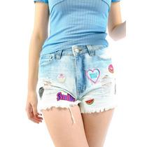 Short Jeans Das Gringas Original Com Patches Customizado
