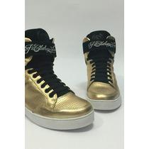 Lindo Sneakers Fitclothingline Fem Tam 35 Dourado/preto