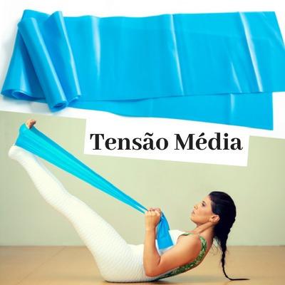 3c73b1583 Faixa Elástica Yoga Pilates Azul Tensão Média 1m50cm - R  29