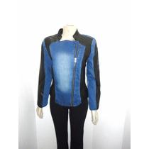 Casaco Jeans Em Couro Sintetico E Ziper Barra Modas