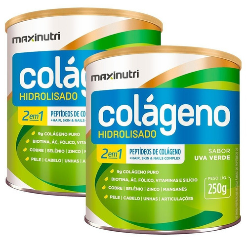 3060d309c Colágeno Hidrolisado 2em1 Uva Verde 2x250g Maxinutri - R  146