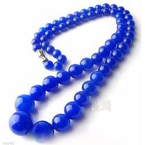 Collar De Jade Azul Con Broche De Plata 294 Quilates