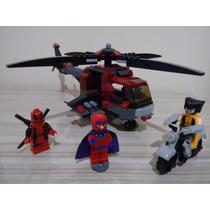Lego Marvel Wolverine Magneto Deadpool Helicóptero Mot