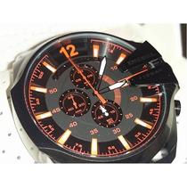 Relógio Diesel Masculino Dz4318 Preto Detalhes Laranja