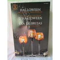 Set De 3 Copas Porta Velas Para Hallowen