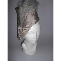 Sombrero Lila Seda Plumas De Avestruz.*vintage