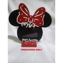 Souvenirs Portarretrato Mickey Y Minnie Con Nombre Y Frase.