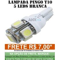 Lampada Pingo Xenon Farol 5 Leds 5050 T10 Super Branca W5w