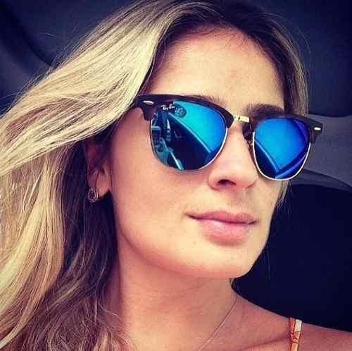 c760b5f13ff51 Óculos Clubmaster 3016 Preto Lentes Azul Escuro Espelhado - R  157 ...