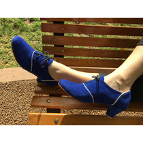 Zapatos De Cuero Artesanales La Mora - Modelo Rosella Azul