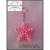 10 Chaveiros Estrela 3d De Miçanga Diversas Cores