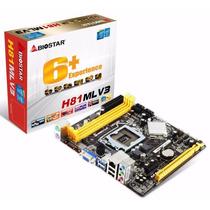Tarjeta Madre Biostar H81mlv3 + Procesador Y Memoria