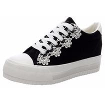 Zapato Plataforma Tipo Importados Negros Talla 37 / 23 Cmts