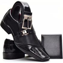 Sapato Masculino Social Kit Cinto + Carteira Verniz Brilhoso