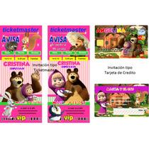 Kit Imprimible Masha Y El Oso, Fiesta, Invitación, Tarjetas