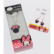 Mca.disney Juego De Aretes Y Collar Minnie Mouse Original.