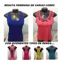 Kit 4 Regata Feminina Com Renda / Atacado / Malha Fria