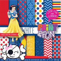 Kit Scrapbook Digital Papéis Princesa Branca De Neve