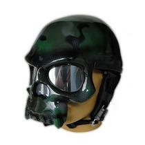 Capacete Caveira Camuflado Verde - Personalizado Brilho