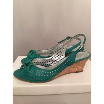 Zandalias/zapatos De Cuero Verde Con Taco De Corcho, Chino