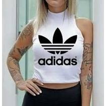 Cropped Adidas Blusinha Gola Alta Blusa Moda Instagram Verão