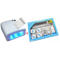 Cabine Estufa Forno Uv Para Gel + Kit Unhas Gel Acrigel