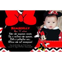 Convites Minnie Vermelha 10x15 + Envelope + Adesivo