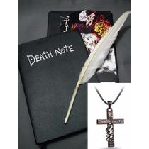 Kit Caderno Death Note Caneta Pena Cd Colar Crucifixo