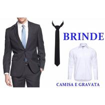 Terno Com Brinde Camisa Social E Gravata Pronta Entrega Slim
