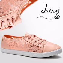 Zapato Tenis De Mujer Rosa Flowers Slim *** Importados