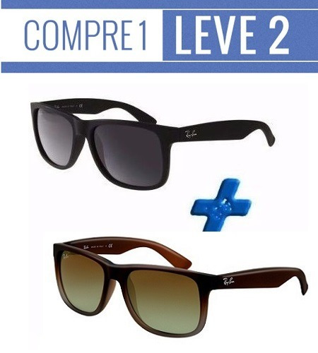 f484151361823 Oculos Rayban Justin 1 Preto + 1 Marrom   Compre 1 Leve 2 - R  104,80 em Mercado  Livre