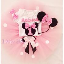 Fantasia Infantil Minnie Rosa Camiseta Body Saia Tutu Menina