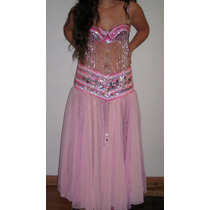 Precioso Traje De Danza Arabe / Bellydance Tonos Rosa