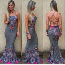 Vestido Dress Sereia Longo Costas Nua Viscolycra Com Bojo