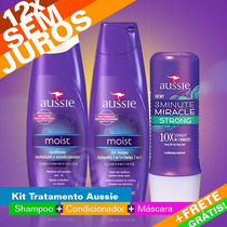Kit Aussie Shampoo + Condicionador + 3 Minute Miracle Strong