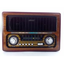Radio Antigo Multifuncional Portátil Retro Am Fm Sw Usb Cart