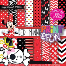 Kit Imprimible Pack Fondos Minnie Mouse Clipart Cod 4