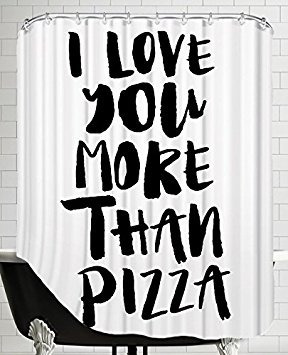 American Flat I Love You More Than Pizza Shower Curtain By