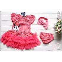 Vestido Infantil Conjunto Tiara Minnie Babado Importado Rosa