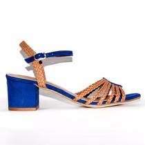 Sandalia Salto Médio Quadrado Fashion Azul Caramelo Couro